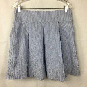 Lauren James Blue Stripe Cotton Pocket Skirt Sz L